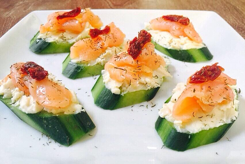 American Smoked Salmon on Cucumber Toast